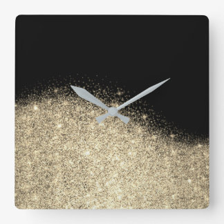 Sepia Faux Gold Black Glitter Gray Minimal Metal Square Wall Clock