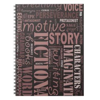 Sepia Fiction Writer's Word Art Notebook