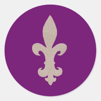 sepia Fleur De Lis Classic Round Sticker