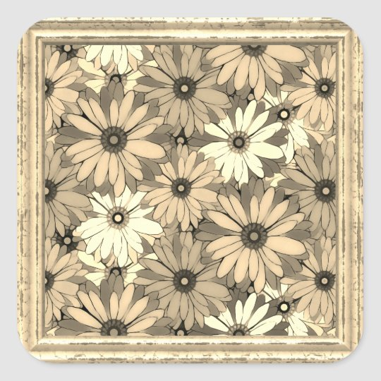 Sepia Flowers  Pattern Square Sticker