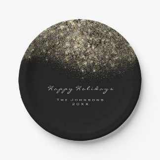 Sepia Gold Sparkly Glitter Black White Holiday Paper Plate