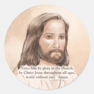 Sepia Jesus Art Bible Quote - Ephesians 3:21 Classic Round Sticker