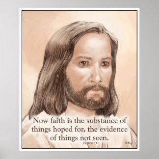 Sepia Jesus Art Bible Quote - Hebrews 11:1 Posters