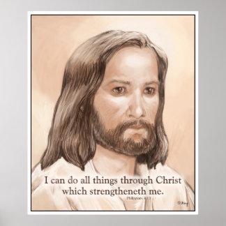 Sepia Jesus Art Bible Quote - Philippians 4 13 Poster