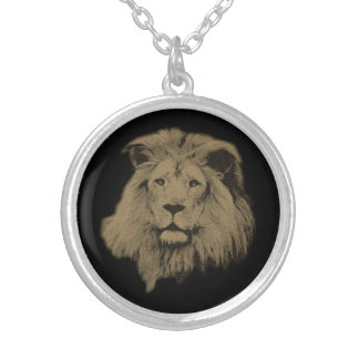 Sepia Lion Silver Plated Necklace