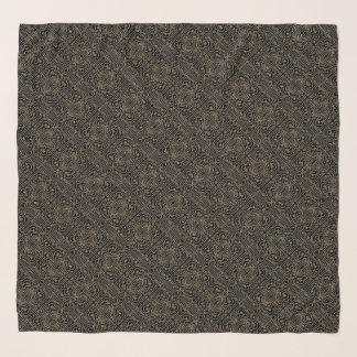 Sepia Maze on Black Scarf
