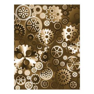 Sepia metallic gears 21.5 cm x 28 cm flyer