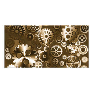 Sepia metallic gears personalised photo card