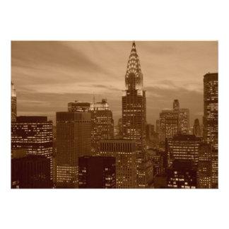 Sepia New York City Skyline Invitation