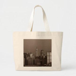 Sepia New York City Skyline Large Tote Bag