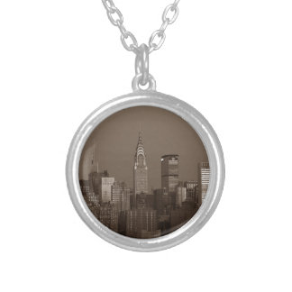 Sepia New York City Skyline Silver Plated Necklace