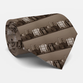 Sepia New York City Skyline Tie