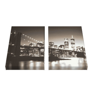 Sepia New York City Wrapped Canvas - 2 Canvases Stretched Canvas Prints