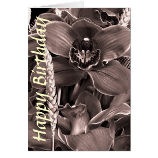 Sepia Orchids Happy Birthday Card Template