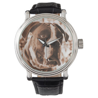 Sepia Photo Boxer Dog Leather Band Wristwatch