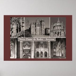 Sepia print, Notre Dame de Rodez, Averyon Poster