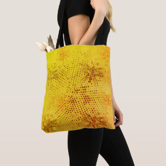 Sepia retro pattern with butterflies, fabric tote bag