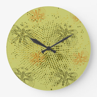 Sepia retro pattern with butterflies wall clocks