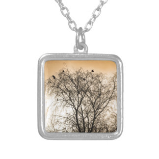 Sepia Roosting birds Silver Plated Necklace