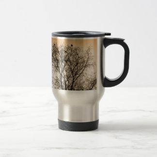 Sepia Roosting birds Travel Mug