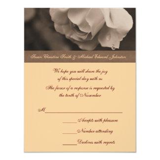 "Sepia Rose Flower Wedding Response RSVP Card 4.25"" X 5.5"" Invitation Card"