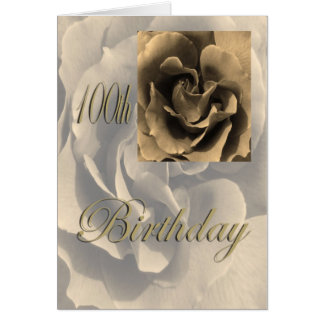Sepia Rose Happy 100th Birthday Card