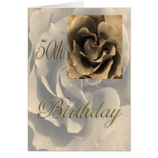 Sepia Rose Happy 50th Birthday Card