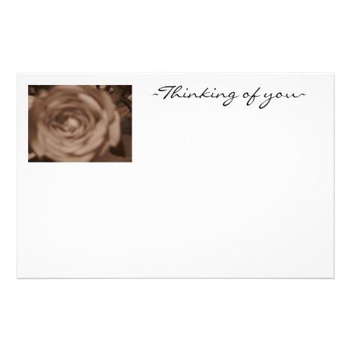 Sepia Rose /Thinking of you Custom Stationery