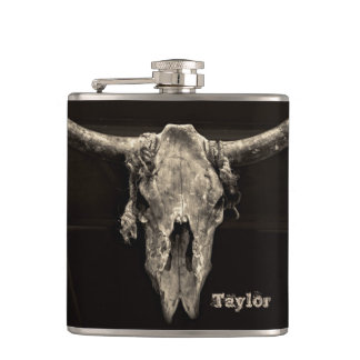 Sepia rustic buffalo skull with horns hip flask