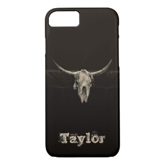 Sepia rustic buffalo skull with horns iPhone 8/7 case