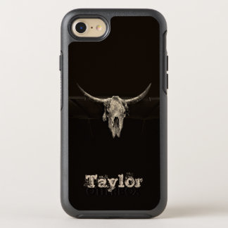 Sepia rustic buffalo skull with horns OtterBox symmetry iPhone 8/7 case