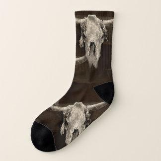 Sepia rustic buffalo skull with horns socks