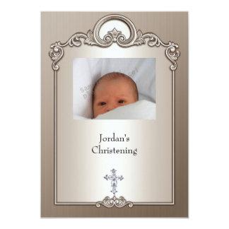 Sepia Silver Photo Frame Jewel Cross Christening Card