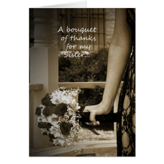 "Sepia Sister ""Maid of Honor"" Bouquet Thank You Greeting Card"