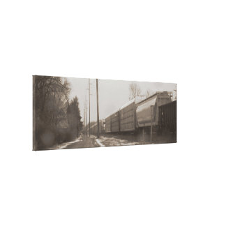 Sepia Snow Train Stretched Canvas Prints
