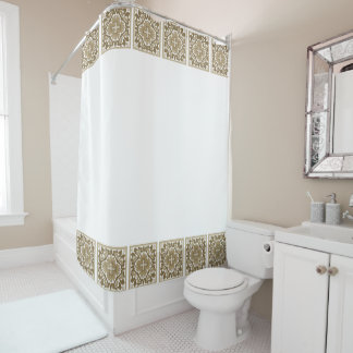 Sepia Spanish Tiles Shower Curtain