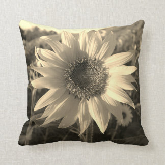Sepia Summer Sunflower Pillow