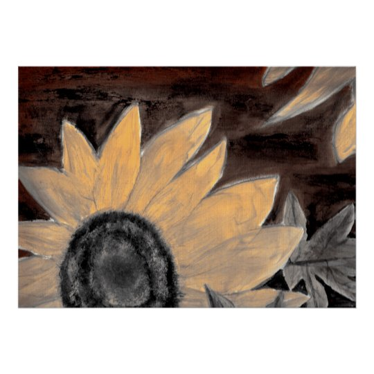 Sepia Sunflower oil painting fine modern art Poster