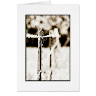 Sepia T-Post Barb Wire Fence Card
