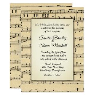 Sepia Tone Antique Sheet Music Theme Wedding Card