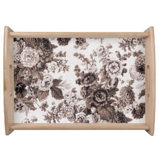 Sepia Tone Brown Vintage Floral Toile No.3 Serving Tray