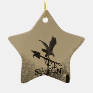 Sepia Tone Eagle Weather vane Ceramic Star Decoration