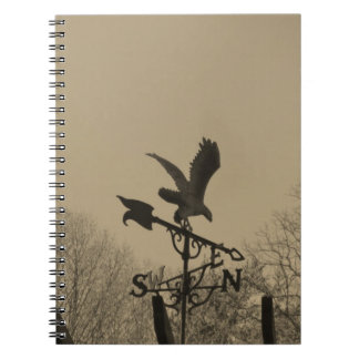 Sepia Tone Eagle Weather vane Spiral Notebook