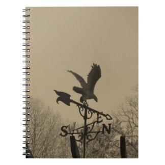 Sepia Tone Eagle Weather vane Spiral Notebook