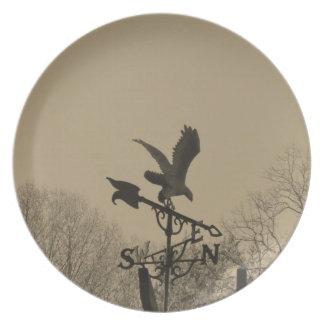 Sepia Tone Eagle Weather vane Party Plate