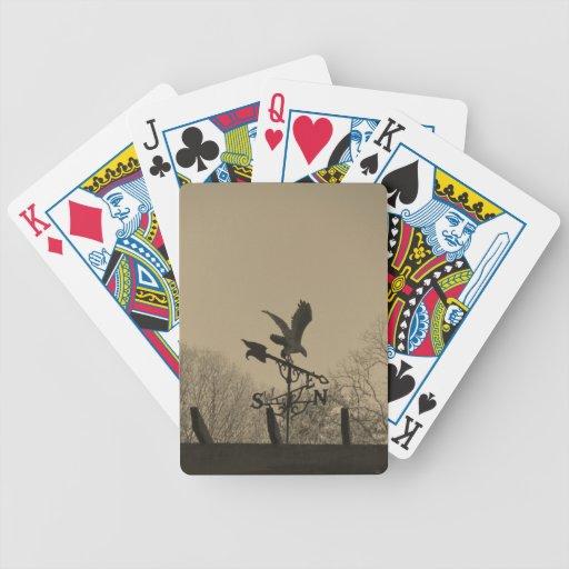 Sepia Tone Eagle Weather vane Poker Cards