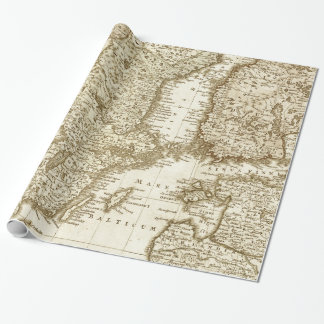 Sepia Tone Map of Scandinavian Countries Gift Wrap