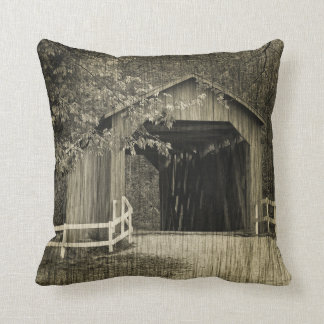 Sepia Tone Sandy Creek Covered Bridge Cushion