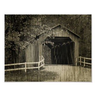 Sepia Tone Sandy Creek Covered Bridge Poster