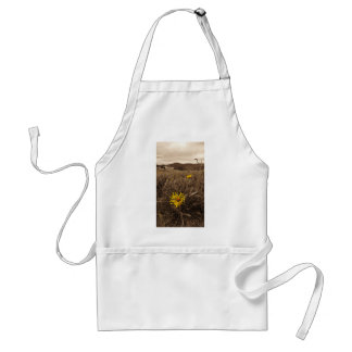 Sepia tone Yellow wildflowers Apron